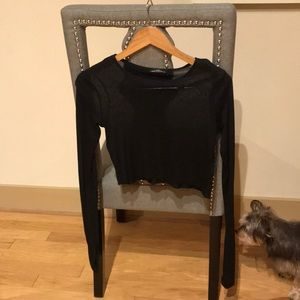 Zara black long sleeve linen crop size small